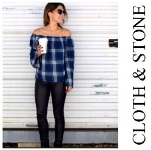 Cloth & Stone blue plaid off the shoulder top nwot